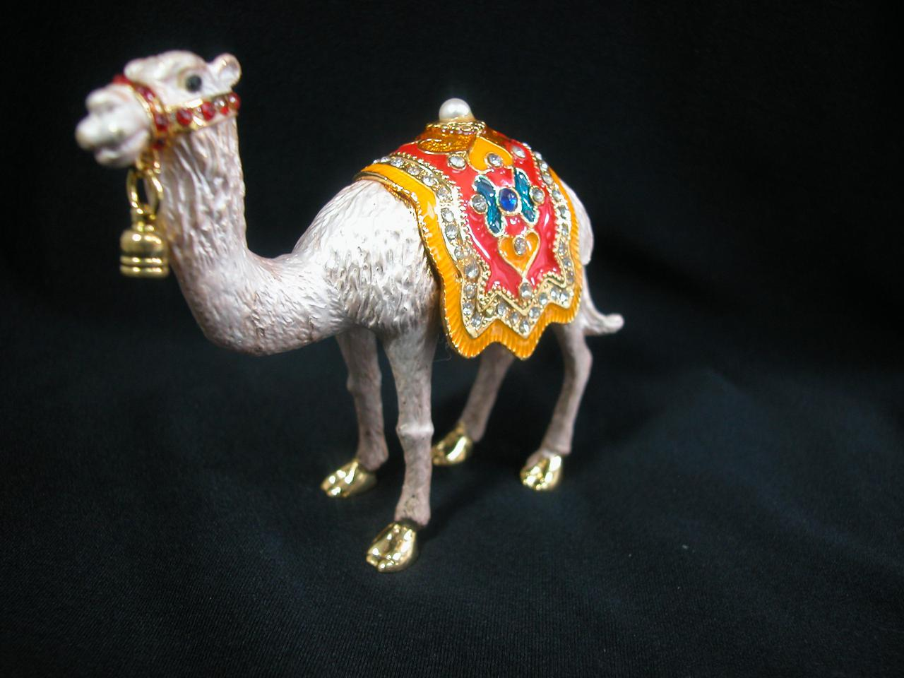 Miniature crystal ornaments - Miniature Crystal Hinged Box For Red Camel Lovers Jewelry Box Collectible Z324