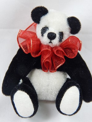 "World of Miniature Bears 2.75"" Plush Bear Panda Purse #1027 Collectible Miniature"