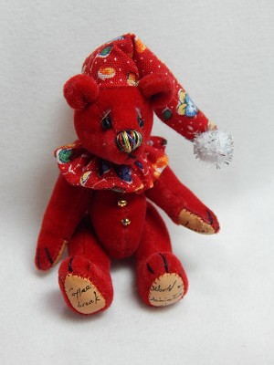 "World of Miniature Bears 2.5"" Plush Bear Checkers-Red #1035 Collectible Miniature"