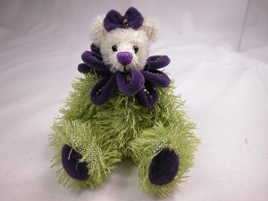 "World of Miniature Bears 3.5"" Cotton Bear Violet #1073 Collectible Miniature"