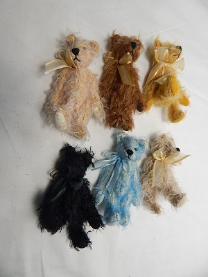 "World of Miniature Bears 3.25"" Mohair Bear 6 pcs set #1087-LOT Closing"