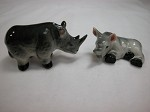 Miniature Porcelain Jungle Wild Animals Indian Rhino Couple #AAW121