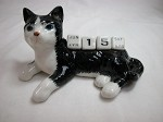 Miniature Porcelain Black & White Cat Calendar Defective #CAL301