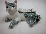Miniature Porcelain Gray Tabby Cat Calendar Defective #CAL302