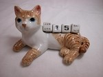 Miniature Porcelain Orange Tabby Cat Calendar Defective #CAL303