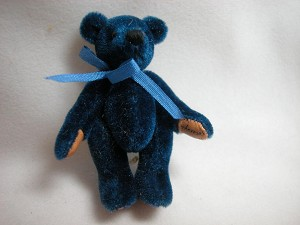 "World of Miniature Bears 2.5"" Plush Bear Blue #353 Collectible Miniature"