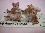 Miniature Porcelain Animals Orange Tabby Cat Kittens House Pet #409