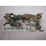 Miniature Porcelain Animals Gray Tabby Litter #419