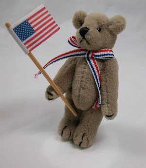 "World of Miniature Bears 2.5"" Plush American Patriot Pin Bear #315F Collectible Miniature"