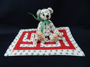 "World of Miniature Bears 3"" Cotton Bear Cherry w/rug #485 Collectible Miniature"