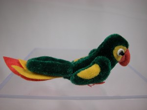 "World of Miniature Bears 2.25"" Plush Animal Green/Gold Parrot #767 Collectible Miniature"