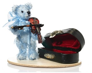 "World of Miniature Bears 3"" Mohair Violin Bear #1193 Collectible Miniature"