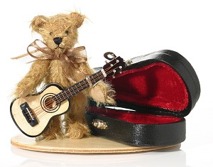 "World of Miniature Bears 3"" Mohair Guitar Bear #1197 Collectible Miniature"