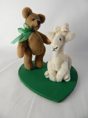 "World of Miniature Bears 2"" Plush Goat Billy n Goat #878A Collectible Miniature"
