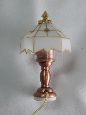 Heidi Ott Dollhouse Miniature 1:12 Scale White Table Lamp #YL1018