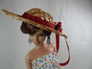 "Barbie Miniature 1:12 Scale 3"" Straw Hat #Z149 Red"