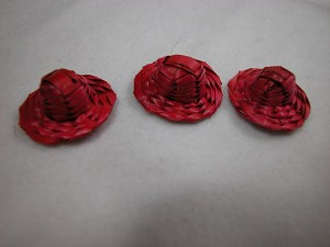 "Dollhouse Miniature 1"" Straw Hats Red 3 pcs Set by artist #Z260"