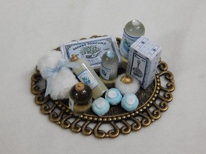 Doll House Miniature Home Decor Vanity Bathroom Lotion Bottles 1:12 Scale Blue