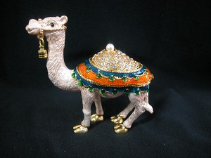 Miniature Crystal Hinged Box For Camel Lovers Jewelry Box Collectible #Z325