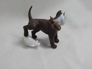 "Dollhouse Miniature 1.5""X1.5""Brown Rottweiler Dog in Action #Z431"