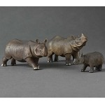 Miniature Porcelain Animals Indian Rhino Family Set #AAW120