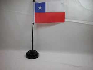 "CHILE 4""x6"" Hand Held or Table Top International Flag"