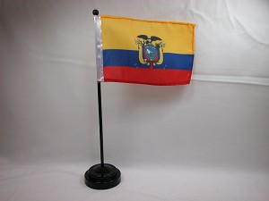 "ECUADOR 4""x6"" Hand Held or Table Top International Flag"