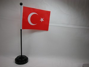 "TURKEY 4""x6"" Hand Held or Table Top International Flag"