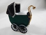 Heidi Ott Dollhouse Miniature 1:12 Scale Accessory Antique Pram Stroller (Green) #XZ112
