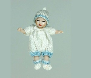 "Heidi Ott Miniature Baby with knitted outfit 1.8"" #XB044"
